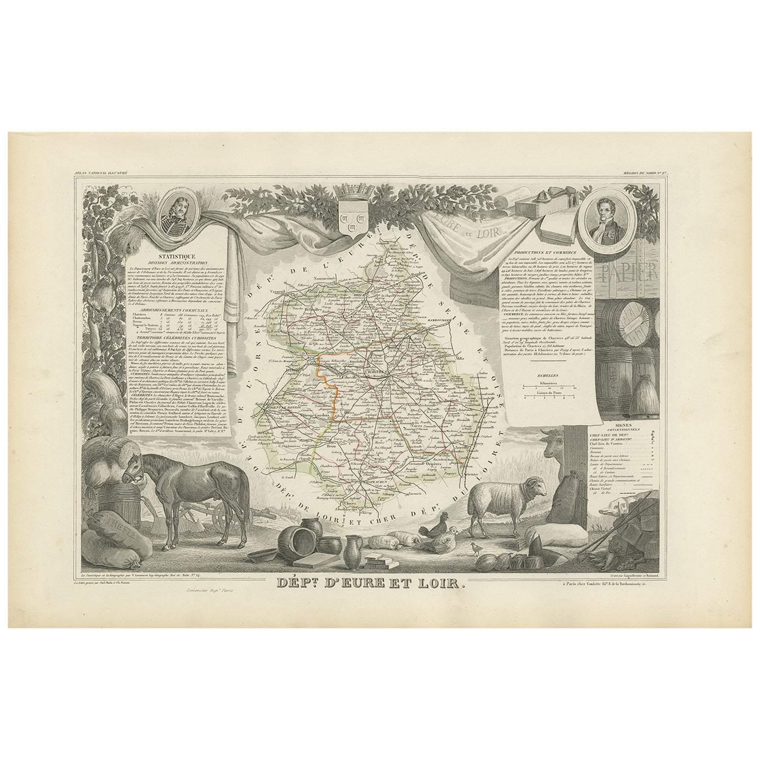 Antique Map of Eure Et Loir 'France' by v. Levasseur, 1854