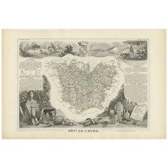 Antique Map of Eure 'France' by V. Levasseur, 1854
