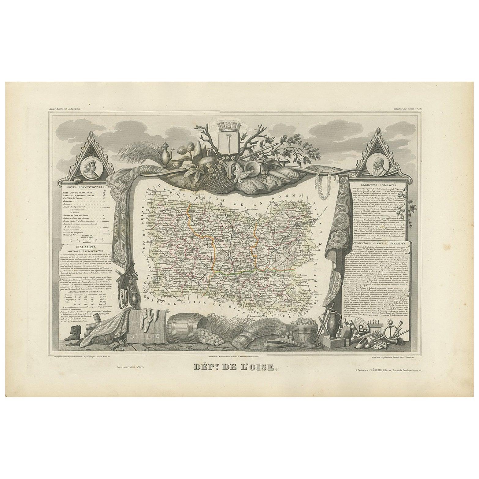 Antique Map of Oise 'France' by V. Levasseur, 1854