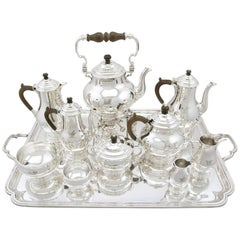 1930s Antique Sterling Silver Ten Piece Tea and Coffee Service