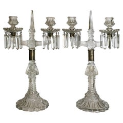 French Early 19th Century Crystal Two-Light Chandeliers with Caryatids