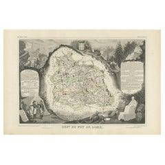 Antique Map of Puy de Dôme 'France' by V. Levasseur, 1854