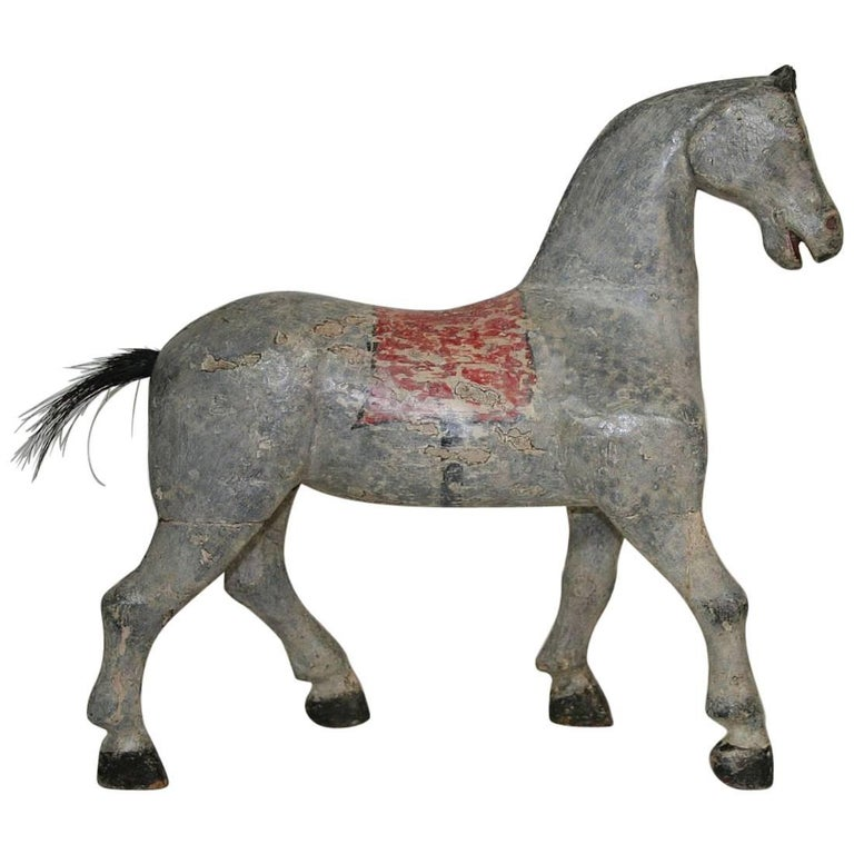 Small 19th Century French Folk Art Wooden Horse