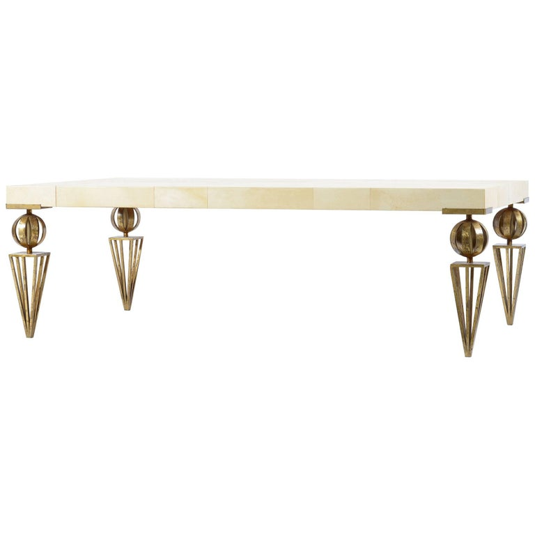 Midcentury Coffee Sofa Table with Gold Hand Made Iron Legs, France, 1940s