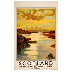 Original Vintage Isle of Skye Poster Scotland Highlands and Islands Royal Route