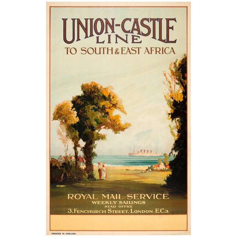 Original Vintage Union Castle Line Poster South & East Africa Royal Mail Service For Sale