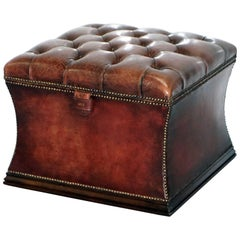 Rare Ritz London 1960s Chesterfield Brown Leather Stool Ottoman Footstool