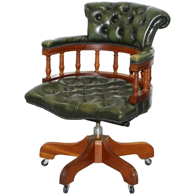 Lovely Chesterfield Directors Green Leather Executive Captains Office Chair For