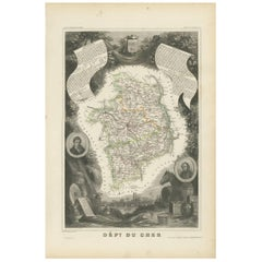 Antique Map of Cher 'France' by V. Levasseur, 1854