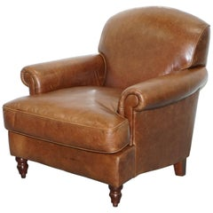 Laura Ashley Brown 100% Leather Cattle Hide Club Armchair Lovely Heritage Patin