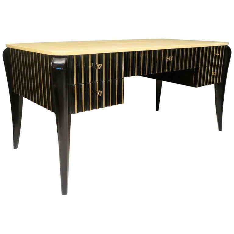 1920 Black Shellac and Parchment French Art Deco Desk