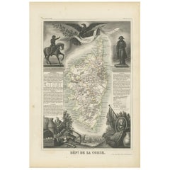 Antique Map of Corse 'France' by V. Levasseur, 1854