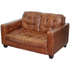 Knoll Style Aged Brown Leather Sofa Chesterfield Style Buttoning Two-Seat Sofa