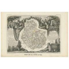 Antique Map of Côte d'Or 'France' by V. Levasseur, 1854