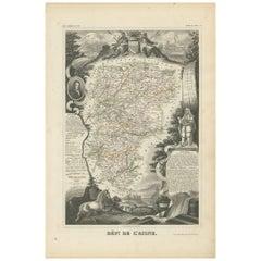Antique Map of Aisne 'France' by V. Levasseur, 1854