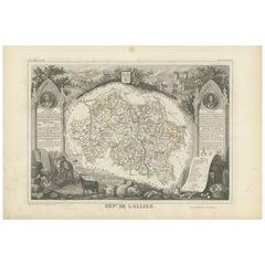 Antique Map of Allier 'France' by V. Levasseur, 1854