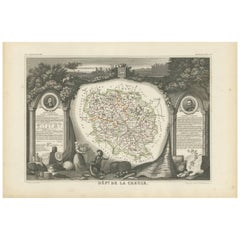 Antique Map of Creuse 'France' by V. Levasseur, 1854