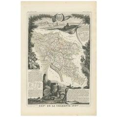 Antique Map of Charente Inférieure 'France' by V. Levasseur, 1854