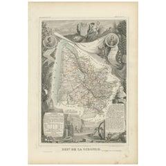 Antique Map of Gironde 'France' by V. Levasseur, 1854