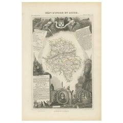 Antique Map of Indre et Loire 'France' by V. Levasseur, 1854
