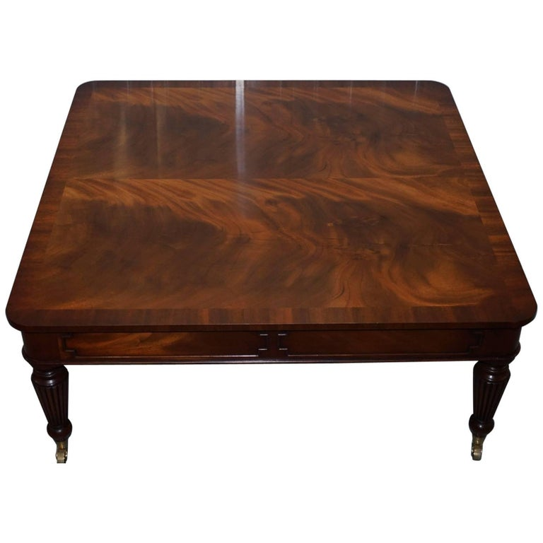 Square Flamed Mahogany Coffee Table Carbed Legs Castors with Drawers