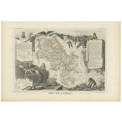 Antique Map of Isère 'France' by V. Levasseur, 1854