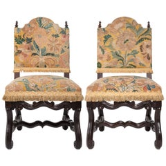 Pair of Tapestry Upholstered Chestnut Louis XIV Chairs