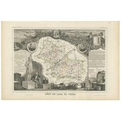 Antique Map of Loir et Cher 'France' by V. Levasseur, 1854