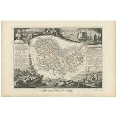 Antique Map of Côtes du Nord 'France' by V. Levasseur, 1854