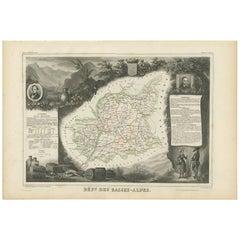 Antique Map of Basses-Alpes 'France' by V. Levasseur, 1854