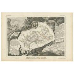 Antique Map of Hautes-Alpes 'France' by V. Levasseur, 1854