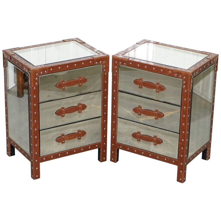 Pair of New Venetian Glass Aluminium and Leather Bedside Table Drawers
