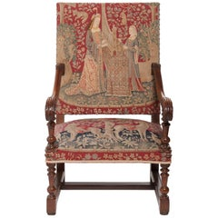 Good Tapestry Upholstered Walnut Louis XIV Armchair