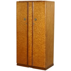 Bird's-Eye Maple Tudor Rose Art Deco Wardrobe Part of a Suite, circa 1925