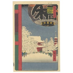 Utagawa Hiroshige, Landscape, Winter, Temple, Edo, Japanese Woodblock Print