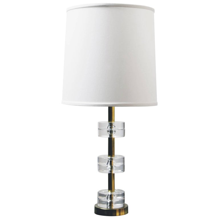 Crystal and Brass Carl Fagerlund Lamp for Orrefors