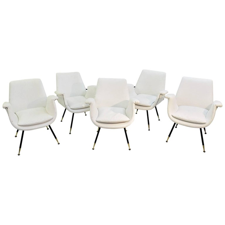 Set of Small Italian Armchairs in White Faux Leather