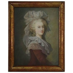 French 19th Century Pastel Portrait of a Young Lady