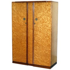 Stunning Bird's-Eye Maple Tudor Rose Art Deco Wardrobe Part of a Suite