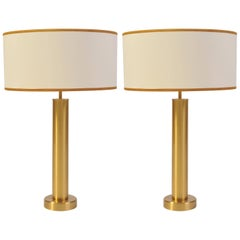 Pair of 1970s Swedish Brushed Brass Table Lamps