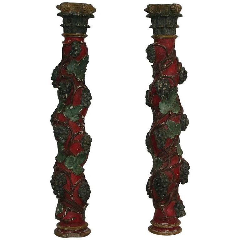 Pair of 18th Century Spanish Hand-Carved Wooden Columns