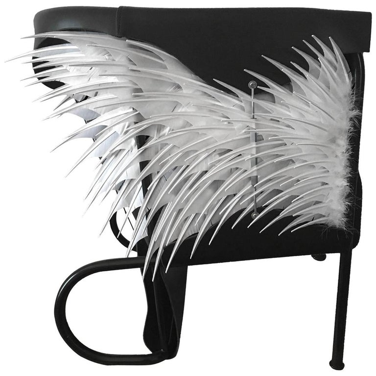 Club Chair, Accoutre No.2, Leather and Feather Armchair For Sale