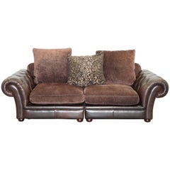 Stunning Brown Leather and Fabric Chesterfield Sofa