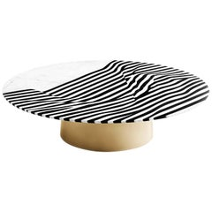 Veiled Coffee Table, Nero Marquinia and Carrara Marble Inlays, Brass Base