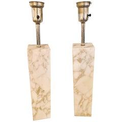 Fine Custom Pair of T. H. Robsjohn-Gibbings Marble Column Form Table Lamps