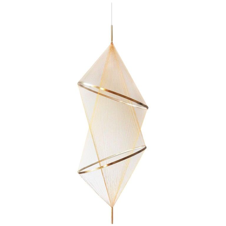 Spun Halo Pendant Lamp, Light Sculpture, Woven Chandelier