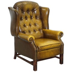 Harrods London Chesterfield Aged Brown Leather Recliner Armchair Comfortable