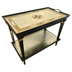 Hollywood Regency Jansen Mirrored Serving Cart with an Eglomise Tray Top