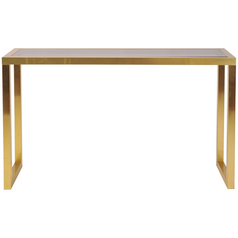 1970s Brass and Smoked Glass Console Table