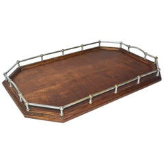 Vintage Wood Gallery Serving Tray